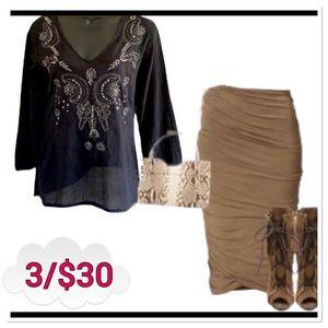 Digital Clothing long slv sheer sequinned blouse